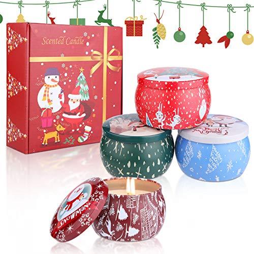 Kerzen Set,Duftkerzen Set 4 Stück Duftkerzen Duftkerzen Set Weihnachten Kerze in dose Kerzen Set Geschenk Kerzen Set Geschenk Weihnachten Aroma Kerzen Aroma Kerzen weihnachten Duftkerzen Geschenkset