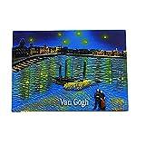MUYU Magnet Imán para Nevera con diseño de Noche Estrellada sobre el Rhone of Van Gogh en 3D, Regalo de Recuerdo para el hogar y la Cocina, imán para Nevera de los Países Bajos