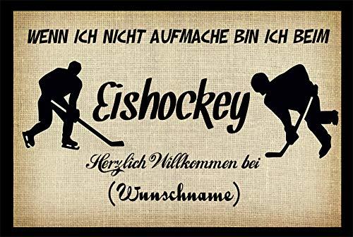 Crealuxe Fussmatte - Herzlich Willkommen (Wunschname) - Wenn ich Nicht aufmache - Eishockey - Fussmatte Bedruckt Türmatte Innenmatte Schmutzmatte lustige Motivfussmatte