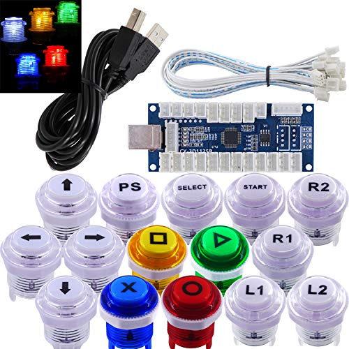 SJ@JX Arcade Game Stick DIY Kit LED Buttons Cherry MX Microswitch Lamp Controller USB Encoder Gamepad Cable for Hit Box PC PS3 MAME Raspberry Pi