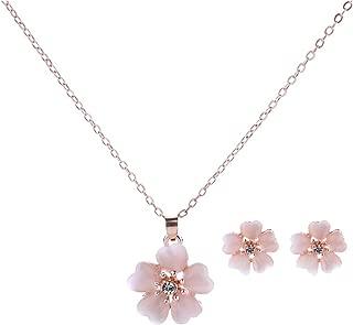 Necklace Earrings Stud Set Cherry Blossoms Style Elegant Earrings for Women Girls
