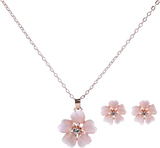 Necklace Earrings Stud Set Cherry Blossoms Style Elegant Earrings for Women Girls