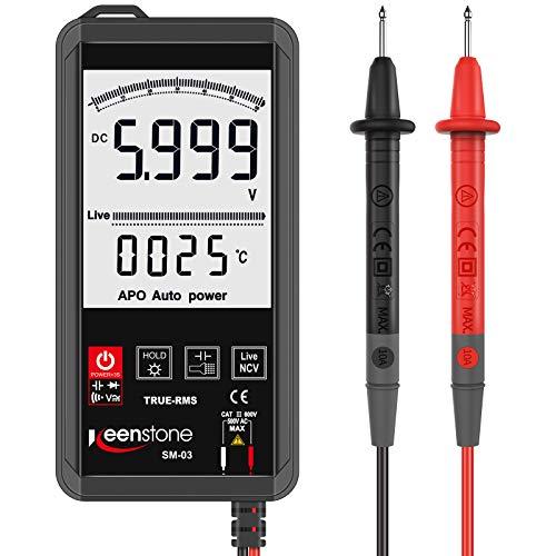 Multímetro digital, contador Keenstone 6000 Multímetro de botón de rango automático con linterna, resistencia, frecuencia, cero cable, medidor de diodo,medidor voltaje