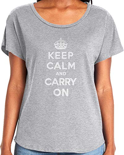 Amdesco Ladies Keep Calm and Carry On Dolman T-Shirt, Heather Gray XL