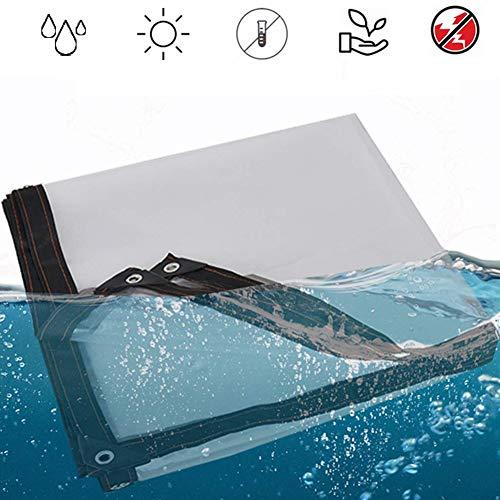 MSCHEN Gewebeplane Transparente PVC wasserdichte Plane, Verdicken Regenschutz Tarp Weicher Kunststoff Balkon Regen Vorhang Sonnenschutz Tarp mit Ösen 120 g/m²,1mX1m/3.3x3.3ft