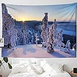 KHKJ Tapiz navideño con Chimenea y Nieve para Colgar en la Pared, Tapiz navideño para decoración del hogar, tapices con Estampado A14 200x180cm