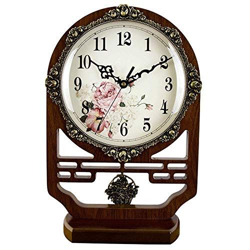 JKCKHA Brillante repisa relojes de escritorio estante reloj sala de estar mudo adornos decorativos retro escritorio sentado campana madera 41.5x27.7cm, A