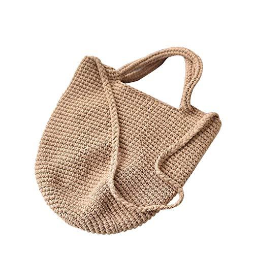 PNYGJSTB Stroh schoudertas voor vrouwen katoen handgeweven vakantie strandtas emmer messenger bag handtas mode handtassen casual cosmetica opbergtas