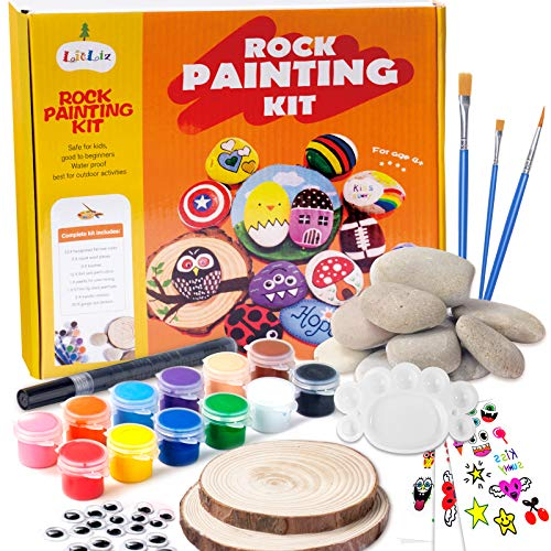 Rock Painting Kit for Kids Ages 4-8 Supplies for Painting Rocks Hide and Seek Painting Kit for Kids 9-12 Arts and Crafts Painting Gifts for Girls Boys