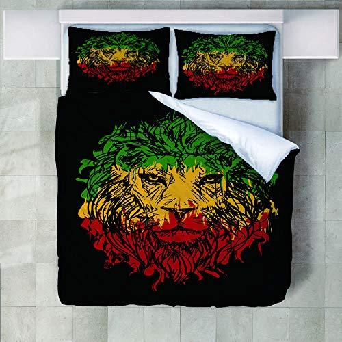 FAIEK Bettwäsche Set 1 Bettbezug 2 Kissenbezug - - Weihnachten Weich Und Bequem Atmungsaktiv Bettwäsche Erwachsener Kind Bettwäsche Mode Betten Set - Haarfarbe Tier Löwe