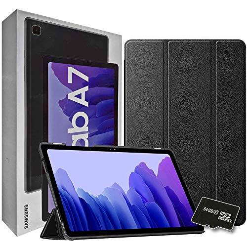 """2020 Samsung Galaxy Tab A7 10.4"""" Inch 64 GB Wi-Fi Android 10 Touchscreen International Tablet (Gray) Bundle – Slim Trifold Hard Shell Case and 64GB Micro SD Card"""