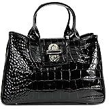 Belli Echt Leder Handtasche Damen Ledertasche Umhängetasche Henkeltasche in schwarz lack Kroko Prägung - 36x25x18 cm (B x H x T)