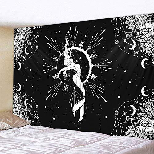 KHKJ Tapiz de Mandala con Luna en Blanco y Negro, decoración para Colgar en la Pared, Dormitorio, Escena psicodélica, decoración artística con luz de Las Estrellas, A17 150x130cm