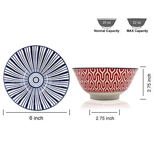 KitchenTour Porcelain Bowls Set - 20 oz Serving Bowls For Kitchen - Cereal, Ice Cream, Soup, Salad, Rice, Dessert Ceramic Bowls - Assorted Colorful Design Set of 6 - Microwave Dishwasher Safe