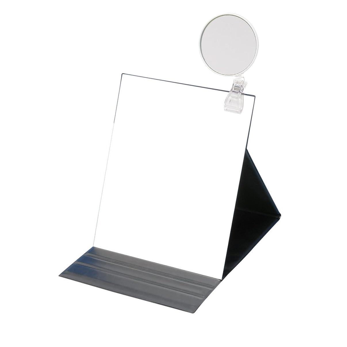 ナビゲーションすみません熟達ナピュアミラー 5倍拡大鏡付きプロモデル折立ナピュアミラー3L ブラック HP-53×5