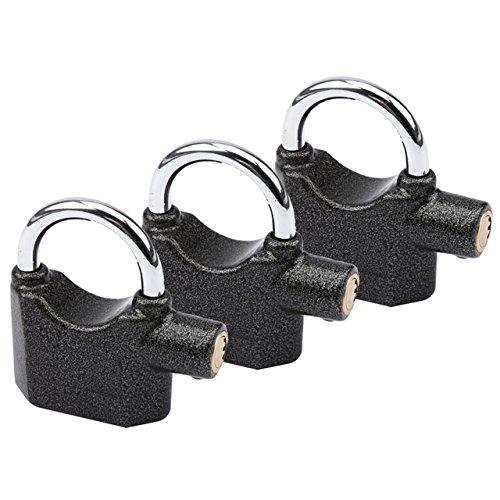 3 Stück Premium OLYMPIA S100 Alarmschloss mit Schlüssel - Korrosionsgeschützt - Sicherheitszylinder - 100 dB Sirene | Alarmgesichertes Vorhängeschloss, Hangschloss | Großes Vorhang-Schloss mit Alarm