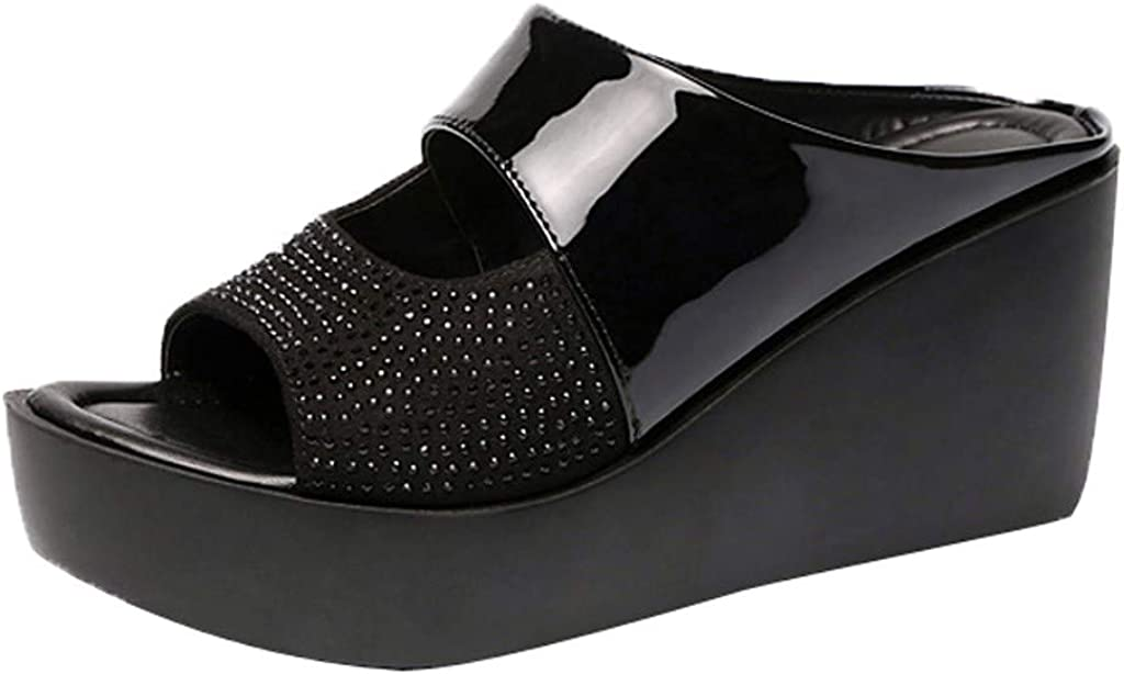 Hemlock Women Slide Sandals Wedges Platform Slippers Peep Toe Sandals Thick Bottom Shoes Outdoor Casual Slippers