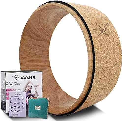 Yoga Wheel - Strongest Most Comfortable Dharma Yoga Prop Wheel for Yoga Poses, Perfect Roller for Stretching, Increasing Flexibility and Improving Backbends (Cork Wood)