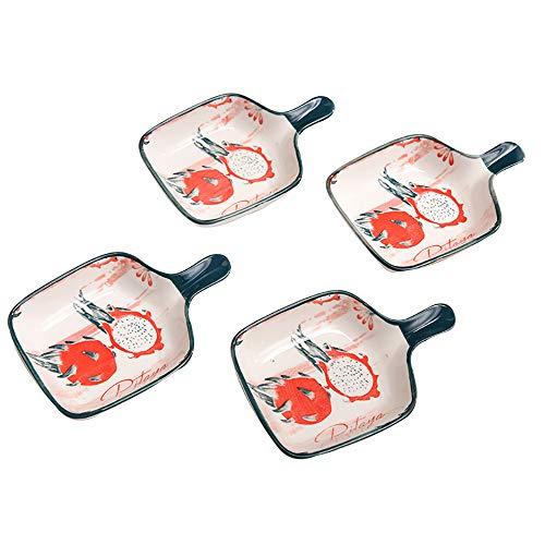 Navisli Platos de cerámica para salsas diversas, lindas formas de impresión a la moda, juego de 4 platos (Style4)