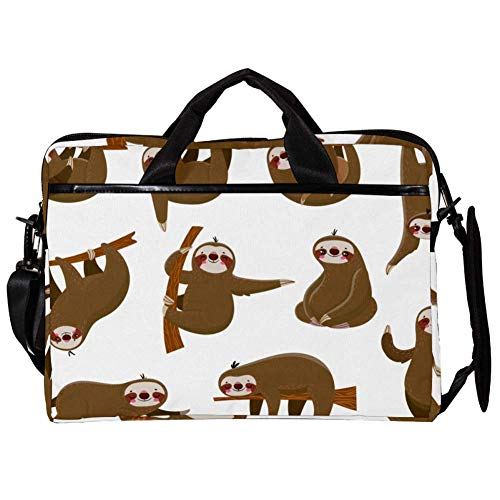 15 inch Laptop Computer Tablet Sleeve Briefcase Shoulder Bag Carrying Case for Women and Men with Cartoon Sloths with Brunch