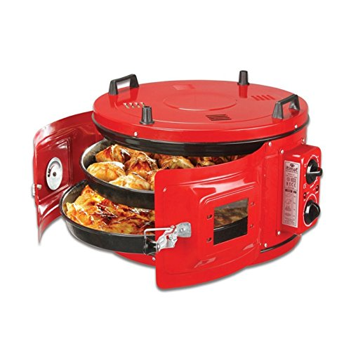 RED COLOR Commercial Round Countertop Drum Oven Bakery Pastry Snack Cookie Roaster Pizza Multipurpose Oven 220V 2 Pan included