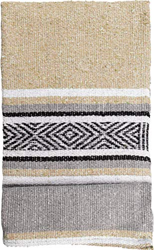 threads west Genuine Mexican Handwoven Blanket, Premium Large Heavyweight Falsa Blanket, Serape & Yoga Blanket | Beach Blanket | Throw Blanket | Picnic Blanket (Traditional, Sandstorm)