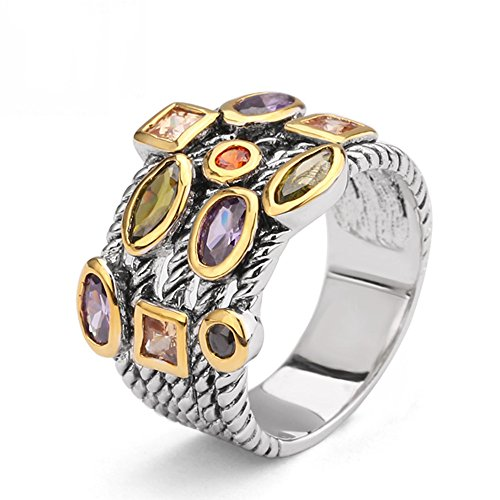 UNY Ring Beautiful Multi CZ Twisted Cable Wire Designer Fashion Brand Vintage Love Antique Womens Jewelry
