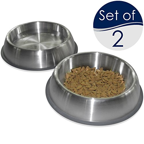 PetFusion Premium Brushed Anti-Tip Dog & Cat Bowls (Set of 2 Bowls). Food Grade Stainless Steel. Bonded Silicone Ring for Traction, Metallic, 32 oz