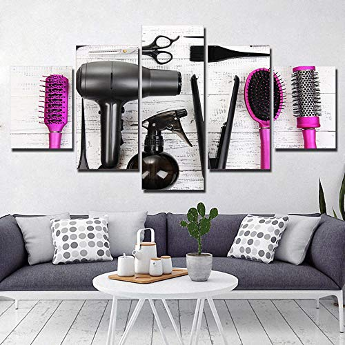 ukooo 5 pósters peluquería Belleza y peluquería Arte de la Pared Cuadros decoración del hogar Canva Imprimir Cuadros Impresos en Lienzo-Sin Marco