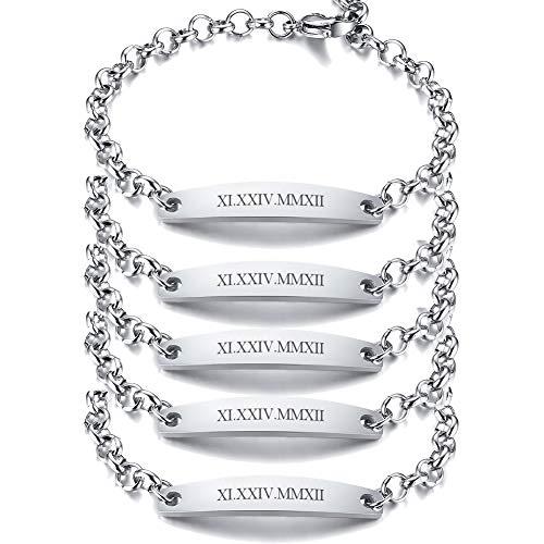 PJ JEWELLERY Set of 2/3/4/5 Customised Women Stainless Steel ID Bracelets Personalised Name Message Friendship Bar Bracelet for Girls Bridesmaid BFF