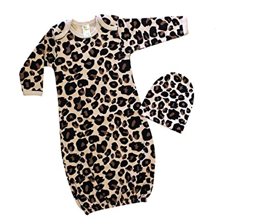 Baby Girl Long Sleeve Sleeping Gown & Beanie Hat Set (0-3M, Leopard)