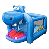 Banzai Happy Hippo Kids Giant Outside Inflatable Bouncer Backyard Blow Up Jumping Bouncing House for Children with Mesh Walls, Blower Pump Included
