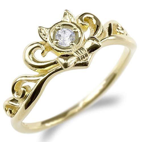 [アトラス]Atrus リング レディース 18金 イエローゴールドk18 ダイヤモンド ネコ ティアラ リボン ピンキーリング 指輪 13号