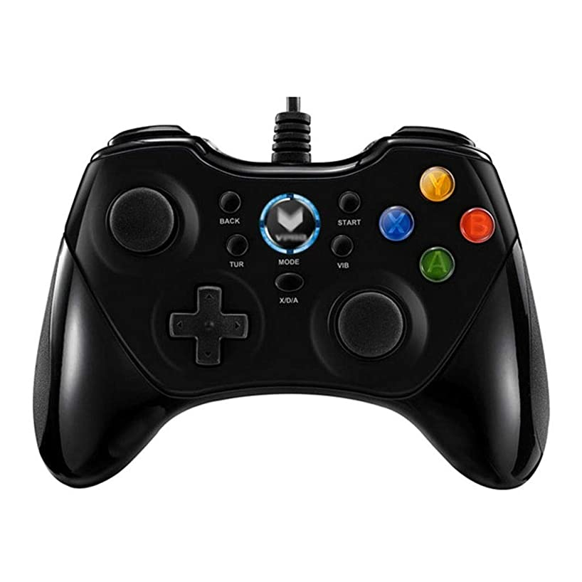 Gamepad Computer Controller Game Controller Anti-Slip Anti-Slip Vibration Handle Wired Multi-Player Family Game Accessories Video Games (Color : Black, Size : 15.310.66.2cm)