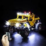 LED Light Kit for Lego Jeep Wrangler Car,Decoration Lighting for Lego 42122 Technic Building Blocks Model Set,Pack Without Building Blocks Model Bricks Set-Remote Control Version Lights