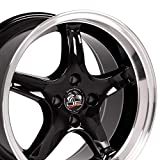 OE Wheels LLC 17 Inch Fit Ford Mustang 4 Lug Cobra R Deep Dish Black Mach'd Lip 17x8 Rims SET