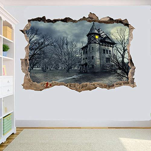 HUJL Pegatinas de pared Castillo Horror gótico Pegatinas de pared 3D Calcomanías de decoración de habitación Mural