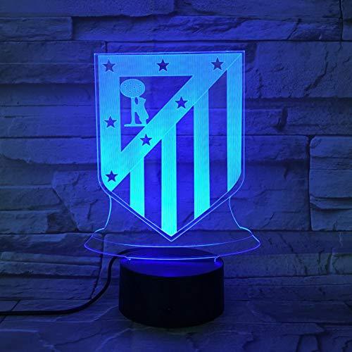 WZYMNYD FC Club Atlético de Madrid LED Night Light 3D Ilusión Niños La Liga Fútbol Logo Los Colchoneros lámpara de Noche Mesa Mesa de Noche Kid