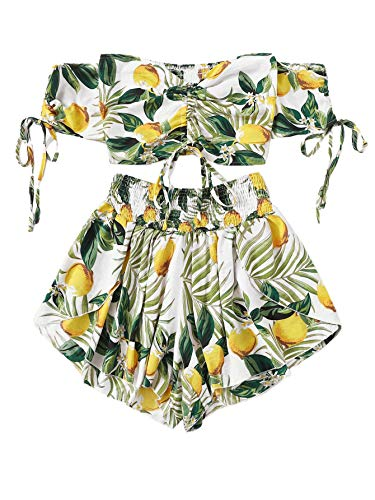 SheIn Women's Boho Floral Two Piece Outfit Off Shoulder Drawstring Crop Top and Shorts Set Large Lemon