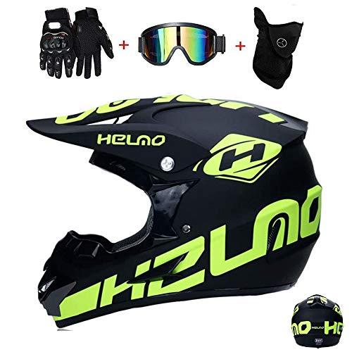 GAODA Casco de motocross, para adultos para exteriores casco de bicicleta de montaña, Cross Integral Enduro Infantil Casco Motocross con Gafas, Mascarilla, Guantes. (L)