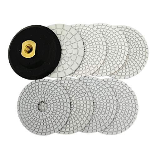 SHDIATOOL 4 Inch Diamond Wet Polishing Pads Set of 8Pcs Plus A Rubber Backer for Marble Granite Stone