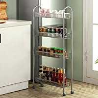 SINGAYE 4 Tier Slim Rolling Storage Cart with Lockable Wheels (Silver)