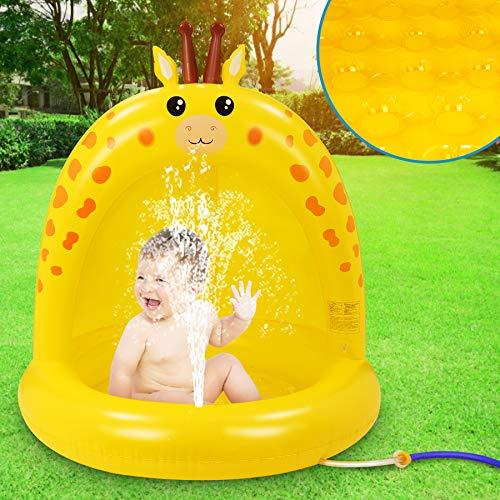 lenbest Piscina Inflable para Bebés, Hinchable Infantil, Piscina para Bebés Jirafa con Toldo Engrosado, Aspersor de Juego con Fondo de Burbuja Inflable de Doble Capa para Jardín/Piscina/Playa