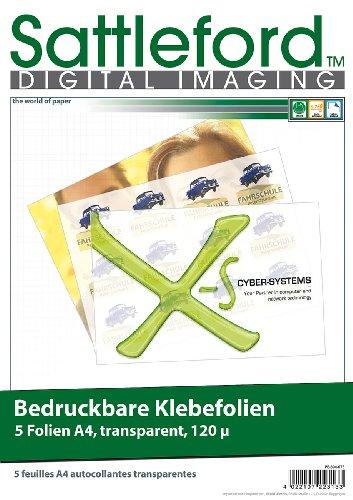 Sattleford Bedruckbare Klebefolie: 5 Klebefolien A4 transparent für Inkjet (Druckerpapier selbstklebend)