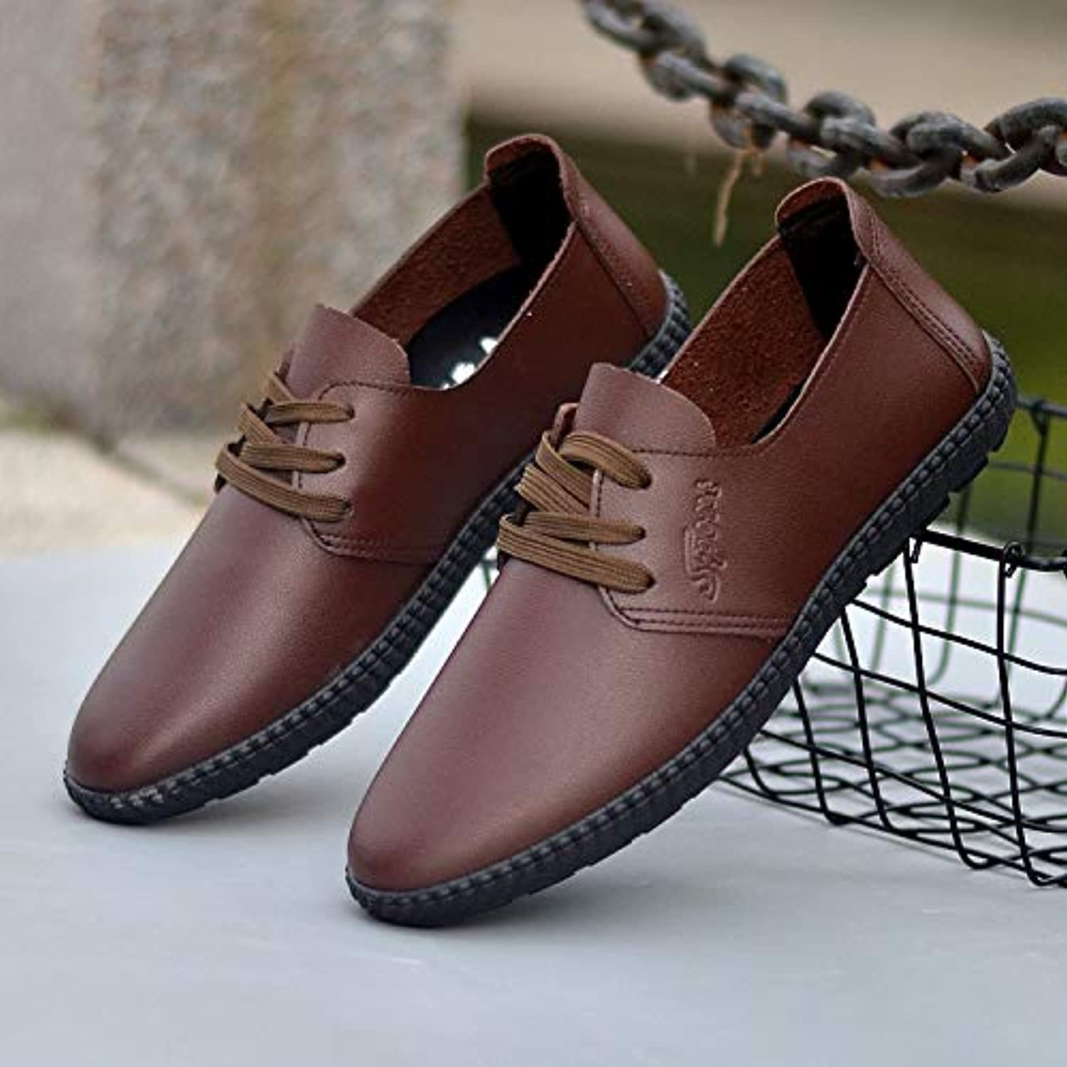 LOVDRAM Men'S Leather shoes Spring And Summer Men'S Casual Peas shoes Student Trend Round Head Pu Leather shoes Strap Lazy Single shoes
