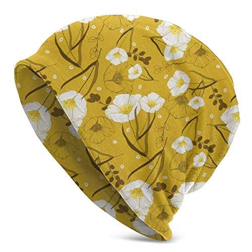 Bikofhd Beanie Hombres Mujeres - Patrón floral vintage de flores puras lindas flores primaverales - Unisex Cuffed Plain Skull Knit Hat Cap Cap