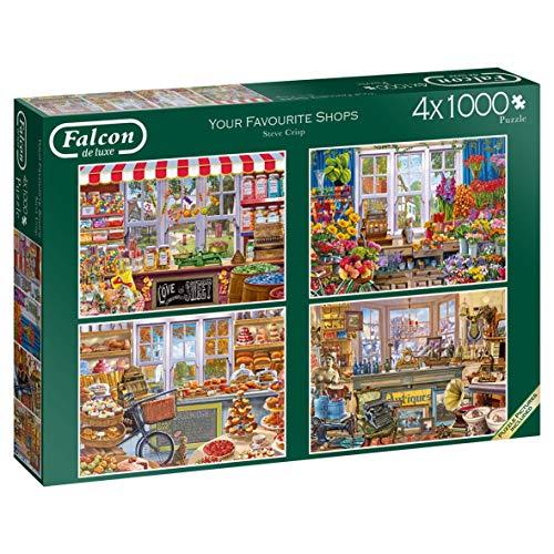 Jumbo 11249 Falcon de Luxe-Your Favourite Shops 4 x 1000 Puzzles, Multi