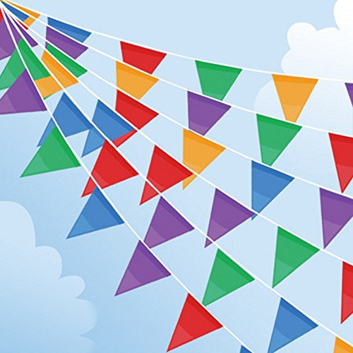 985ft Bunting Flags, 450pcs Big Flags Multicolor Fabric Pennant Bunting Outdoor Garland for Birthday Wedding Garden Street Home Decoration