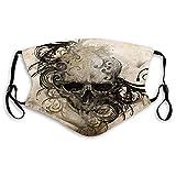 Cómodos estampados de calavera, hechos a mano con diseños florales tribales alrededor de la impresión, negro y marrón, decoración facial resistente al viento para adultos Tamaño: M