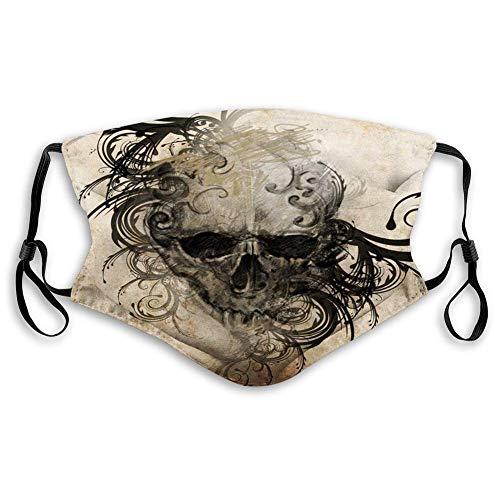 Máscara de tela reutilizable y transpirable, para pasamontañas, tatuaje, imagen hecha a mano de un cráneo con diseños florales tribales alrededor del viento para adultos Tamaño: M
